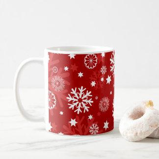 Modern Red Snowflake Christmas Coffee Mug