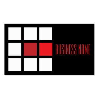modern red square pack of standard business cards