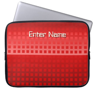 Modern Red Squares Pattern Laptop Sleeve