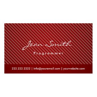 Modern Red Stripes Programmer Business Card