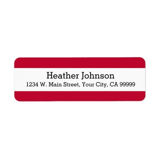 Modern Red Stripes Return Address Labels