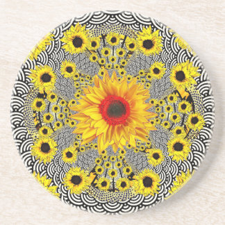 Modern  Red Sunflower Black-White Pattern gifts Coaster