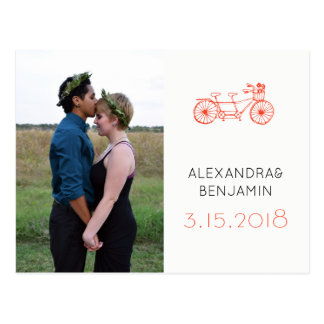 Modern red tandem bike wedding photo save the date postcard