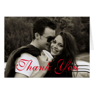 Modern Red Text Thank You Card Customise Love