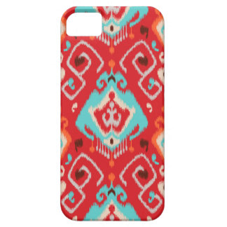Modern red turquoise girly ikat tribal pattern iPhone 5 covers