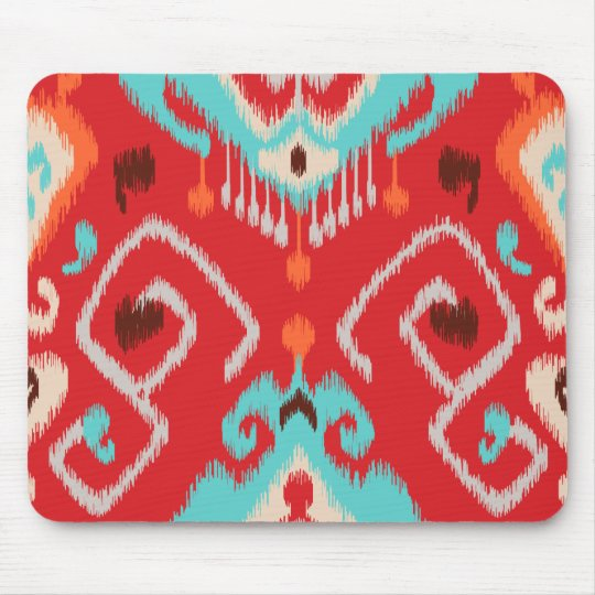 Modern red turquoise girly ikat tribal pattern mouse