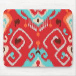 Modern red turquoise girly ikat tribal pattern mouse mat