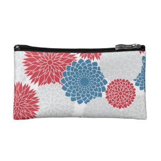 Modern Red White and Blue Flowers Pattern Cosmetic Bags