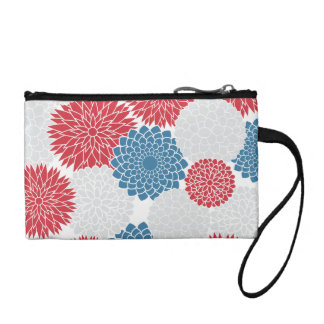 Modern Red White and Blue Flowers Pattern Coin Wallets