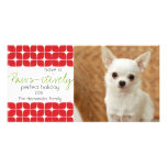 Modern Red & White Christmas Pet Holiday Card! Personalized Photo Card