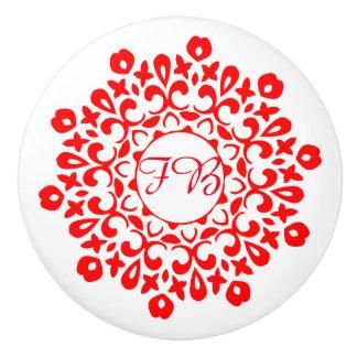 Modern Red White Floral Motif Personalized Ceramic Knob
