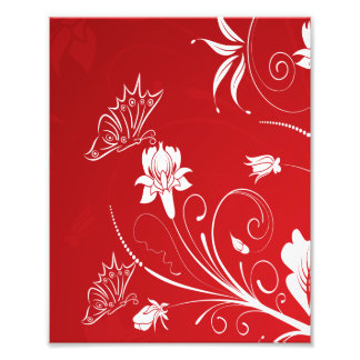Modern Red White Floral Photograph