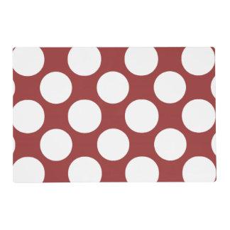 Modern Red White Polka Dots Pattern Laminated Place Mat