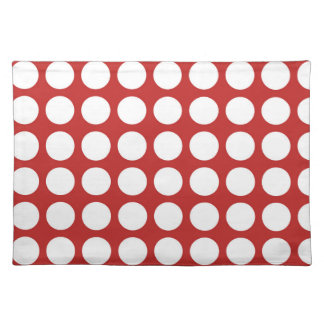 MODERN RED, WHITE POLKA DOTS PLACE MATS