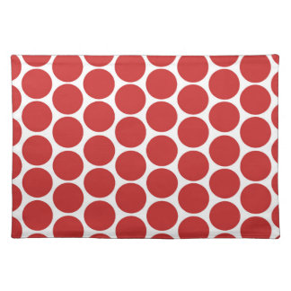 MODERN RED, WHITE POLKA DOTS PLACEMAT