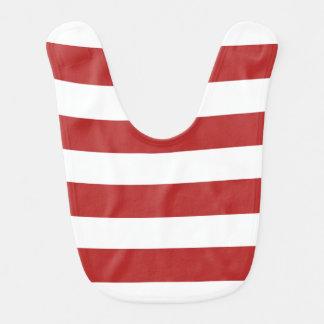 Modern Red White Stripes Pattern Baby Bibs
