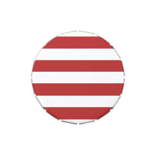 Modern Red White Stripes Pattern Jelly Belly Candy Tins
