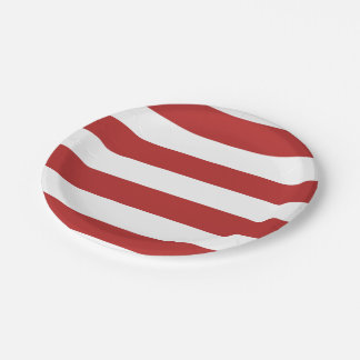 Modern Red White Stripes PatternModern red and whi 7 Inch Paper Plate