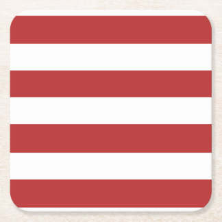 Modern Red White Stripes PatternModern red and whi Square Paper Coaster