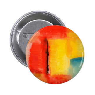 Modern Red Yellow Abstract Painting 6 Cm Round Badge