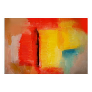 Modern Red Yellow Abstract Painting Art Poster