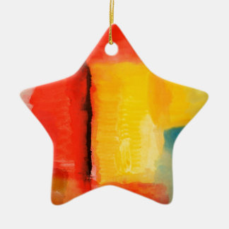 Modern Red Yellow Abstract Painting Ceramic Star Decoration