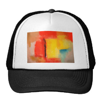 Modern Red Yellow Abstract Painting Hats