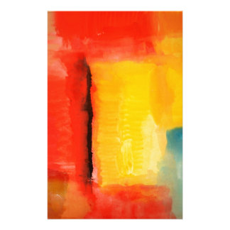 Modern Red Yellow Abstract Painting Personalised Stationery