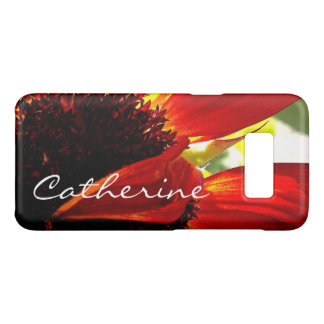 Modern red yellow daisy close-up photo custom name Case-Mate samsung galaxy s8 case