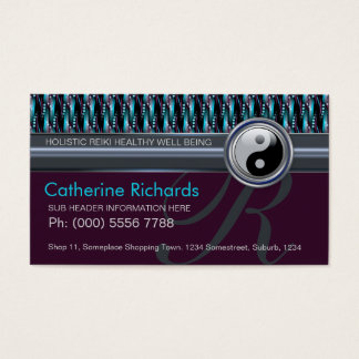 Modern Reiki YinYang Teal+Plum Sparkle Pattern Business Card