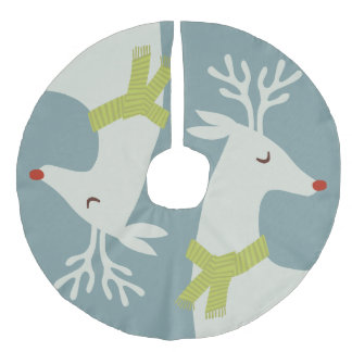 Modern Reindeer Christmas Tree Skirt Faux Linen Tree Skirt