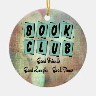 Modern Retro Book Club Group Bibliophile Christmas Ornament