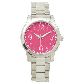 Modern Retro Chic Hot Pink Wrist Watches