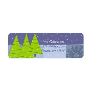 Modern Retro Christmas Tree Return Address Return Address Label