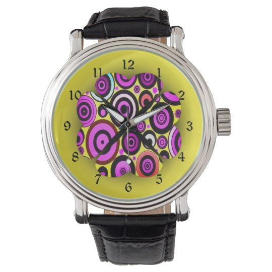 Modern Retro Circles Pattern Wrist Watches