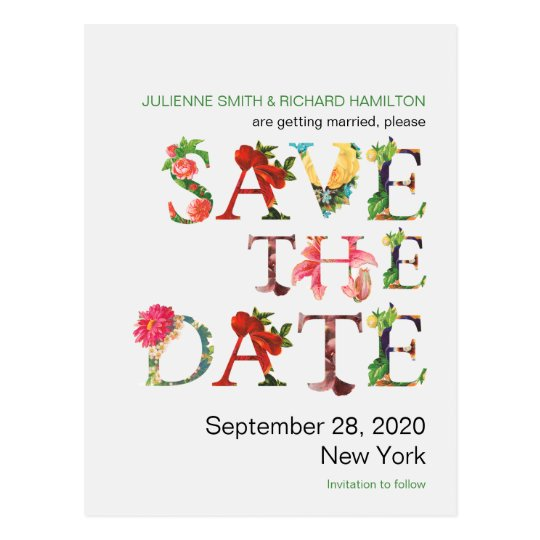 Modern Retro Colorful Flowers Save the Date Postcard