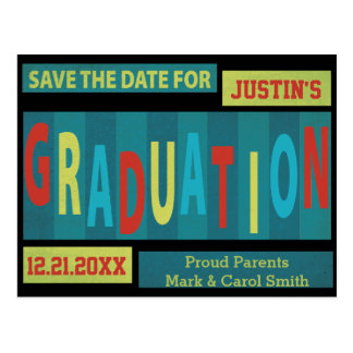 Modern Retro Colorful Graduation Save The Date Post Cards