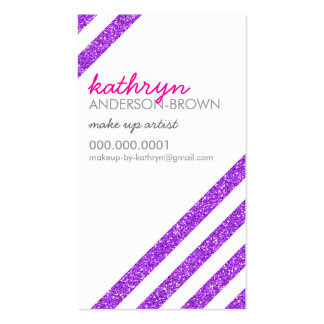 MODERN RETRO diagonal striped glitter purple Pack Of Standard Business Cards