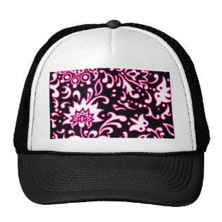 Modern Retro Floral Pattern Gift Pink White Black Mesh Hat