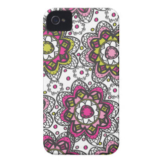 Modern Retro Henna Look Flowers iPhone 4 Case-Mate Case