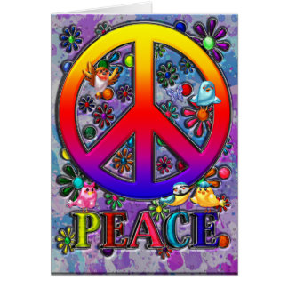 Modern Retro Peace Sign Text Birds & Flowers Greeting Card