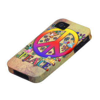 Modern Retro Peace Sign Text Birds & Flowers Vibe iPhone 4 Cases