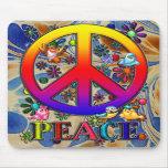 Modern Retro Peace Sign Text Birds & Flowers II