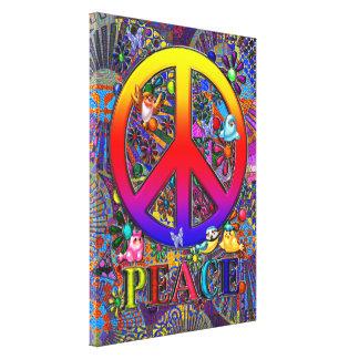 Modern Retro Peace Sign Text Birds & Flowers II Canvas Prints