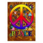 Modern Retro Peace Sign Text Birds & Flowers II Card