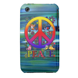 Modern Retro Peace Sign Text Birds & Flowers II iPhone 3 Cases