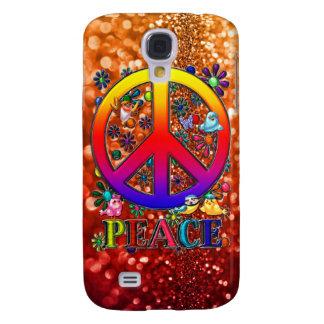 Modern Retro Peace Sign Text Birds & Flowers II Galaxy S4 Case