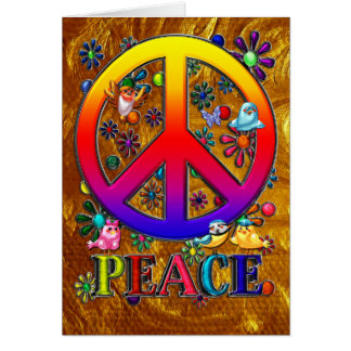Modern Retro Peace Sign Text Birds & Flowers II Greeting Card