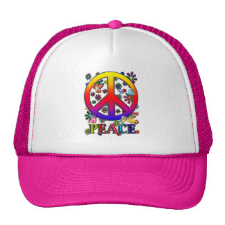 Modern Retro Peace Sign Text Birds & Flowers II Hats