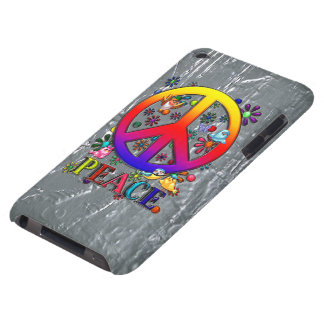 Modern Retro Peace Sign Text Birds & Flowers II iPod Touch Case-Mate Case